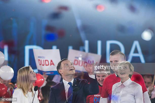 Andrzej Duda with his wife Agata and daughter Kinga at a press conference as part of his campaign on May 20 2015 in Warsaw Poland Andrzej Duda is the...