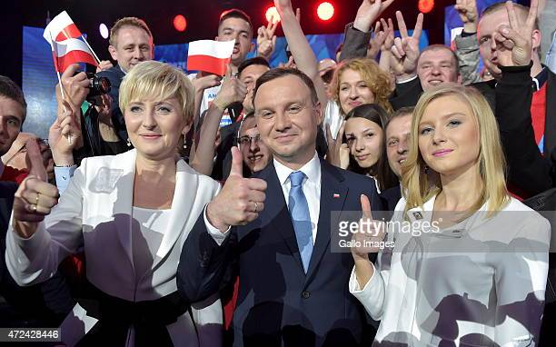 Andrzej Duda with wife Agata and daughter Kinga at a campaign press conference on May 9 2015 in Warsaw Poland Andrzej Duda is the Law and Justice...
