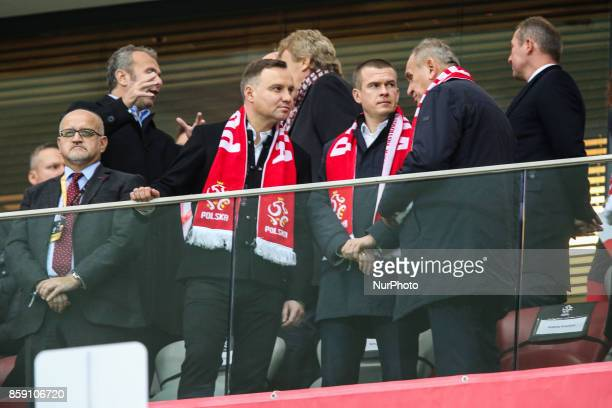 Andrzej Duda Witold Banka during Poland and Montenegro World Cup 2018 qualifier match in Warsaw Poland on 8 October 2017 POLAND won 42 and take on...