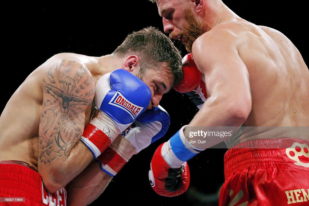 Andrzej Fonfara (R) and Nathan Cleverly exchange punches during their Main Event: Light Heavyweights fight at UIC Pavilion on October 16, 2015 in Chicago, Illinois. Andrzej Fonfara won by unanimous decision.