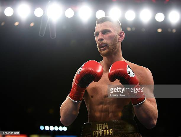 Andrzej Fonfara boxes Julio Cesar Chavez Jr to a ninth round TKO to win the WBC light heavyweight title fight at StubHub Center on April 18 2015 in...
