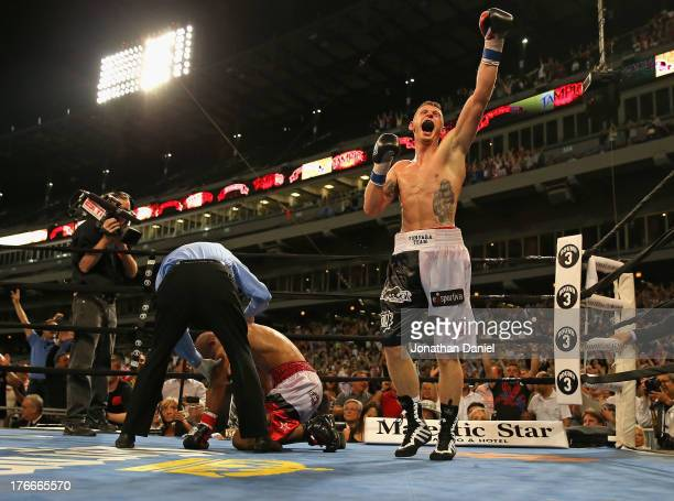 Andrzej Fonfara celebrates his Light Heavyweight knock out win over Gabriel Campillo during an outdoor boxing event at US Cellular Field on August 16...