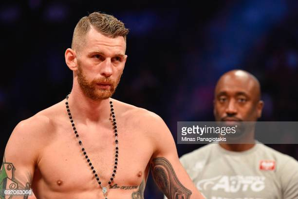 Andrzej Fonfara looks on against Adonis Stevenson during the WBC light heavyweight world championship match at the Bell Centre on June 3 2017 in...
