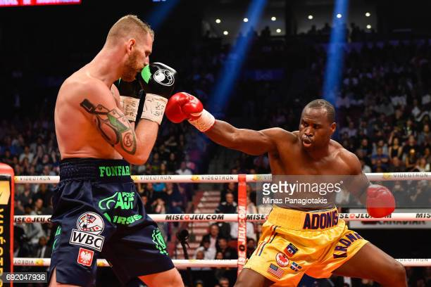 Andrzej Fonfara sidesteps a punch against Adonis Stevenson during the WBC light heavyweight world championship match at the Bell Centre on June 3...