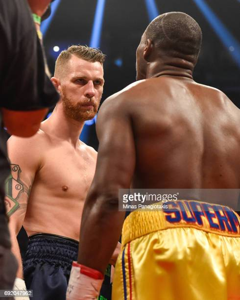 Andrzej Fonfara stares down Adonis Stevenson during the WBC light heavyweight world championship match at the Bell Centre on June 3 2017 in Montreal...
