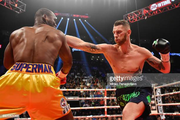 Andrzej Fonfara throws a right punch against Adonis Stevenson during the WBC light heavyweight world championship match at the Bell Centre on June 3...