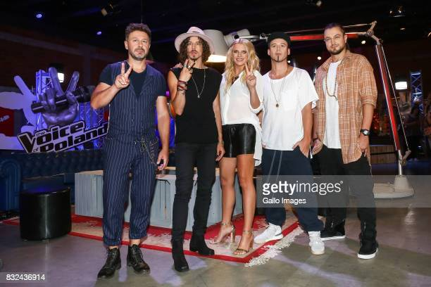 Andrzej Piaseczny Michal Szpak Maria Sadowska Aleksander MilwiwBaron and Tomasz 'Tomson' Lach attend the press conference announcing 'The Voice of...
