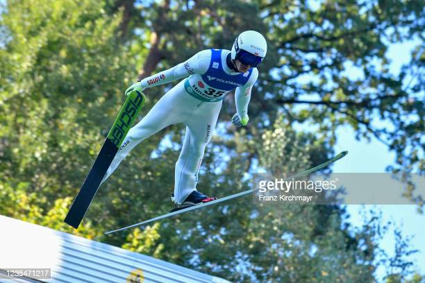 Andrzej Stekala of Poland competes during the FIS Grand Prix Skijumping Hinzenbach at on February 6, 2021 in Eferding, Austria.