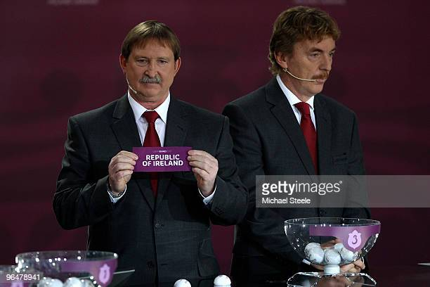 Andrzej Szarmach draws Republic of Ireland into Group B alongside Zbigniew Boniek during the Euro2012 Qualifying Draw at the Palace of Culture and...