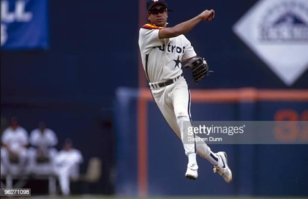 Andujar Cedeno of the Houston Astros fields a throw during their MLB game against the San Diego Padres on May 23 1993 at Jack Murphy Stadium in San...