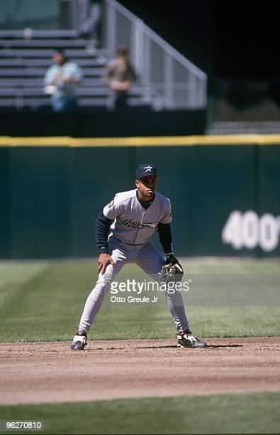 Andujar Cedeno of the Houston Astros gets into his defensive stance during their MLB game against the San Francisco Giants circa June 1994 at...