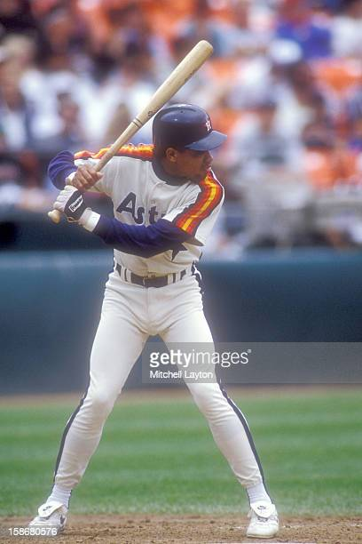Andujar Cedeno of the Houston Astros looks on from the dug out during a baseball game against the San Francisco Giants on August 6 1993 at...