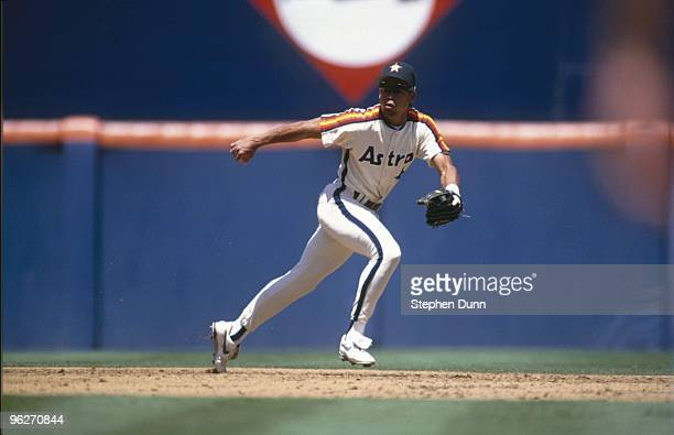 Andujar Cedeno of the Houston Astros looks to field a ball during their MLB game against the San Diego Padres on August 12 1993 at Jack Murphy...