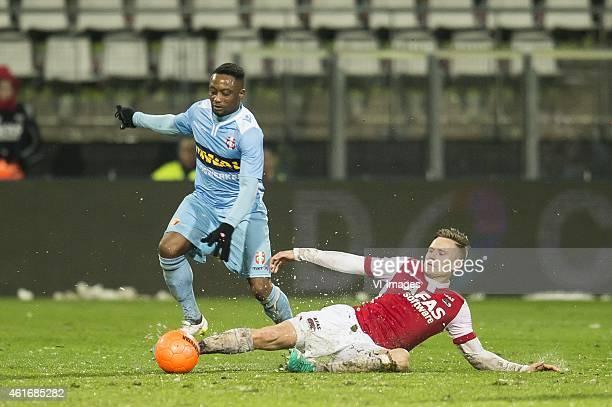 Andwele Slory of FC Dordrecht, Mattias Johansson of AZ Alkmaar during the Dutch Eredivisie match between AZ Alkmaar and FC Dordrecht at AFAS stadium...