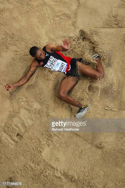 Andwuelle Wright of Trinidad and Tobago competes in the Men's Long Jump qualification during day one of 17th IAAF World Athletics Championships Doha...
