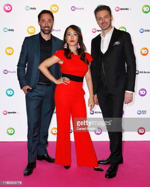 Andy Allen Melissa Leong and Jock Zonfrillo pose during the Network 10 Melbourne Upfronts 2020 on October 11 2019 in Melbourne Australia