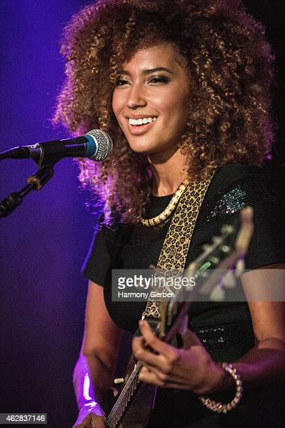Andy Allo performs at the Whole Foods/Whole Planet Foundation PreGrammy Party at OHM Nightclub on February 5 2015 in Hollywood California