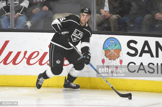 Andy Andreoff of the Los Angeles Kings looks to pass the puck during a game against the Dallas Stars at STAPLES Center on February 22 2018 in Los...