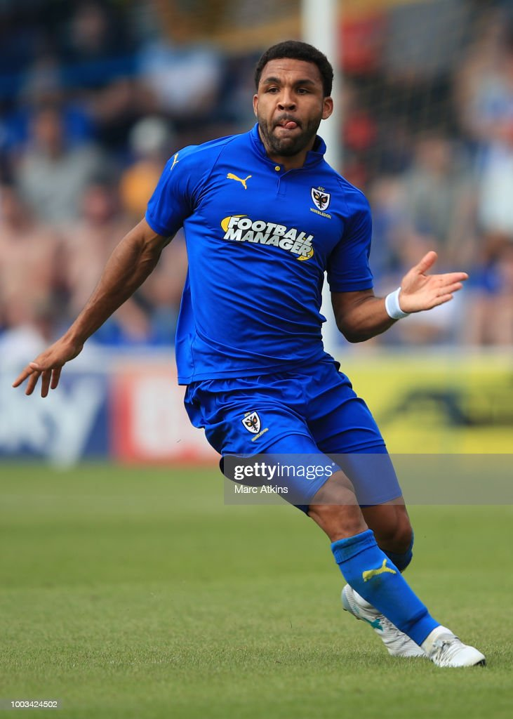 Andy Barcham of AFC Wimbledon during the pre season friendly match between AFC Wimbledon and Brighton and Hove Albion at The Cherry Red Records Stadium on July 21, 2018 in Kingston upon Thames, England.