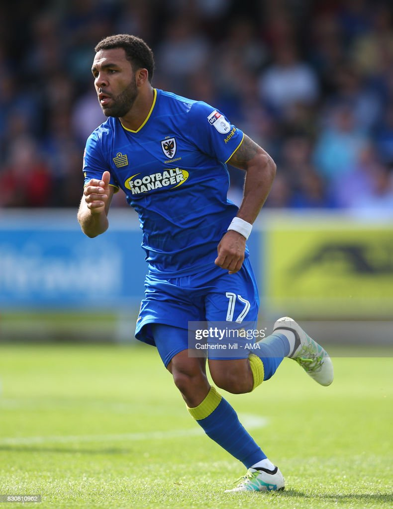 Andy Barcham of AFC Wimbledon during the Sky Bet League One match between A.F.C. Wimbledon and Shrewsbury Town at The Cherry Red Records Stadium on August 12, 2017 in Kingston upon Thames, England.