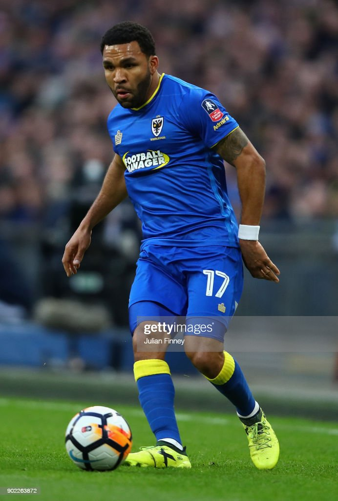 Andy Barcham of AFC Wimbledon in action during The Emirates FA Cup Third Round match between Tottenham Hotspur and AFC Wimbledon at Wembley Stadium on January 7, 2018 in London, England.