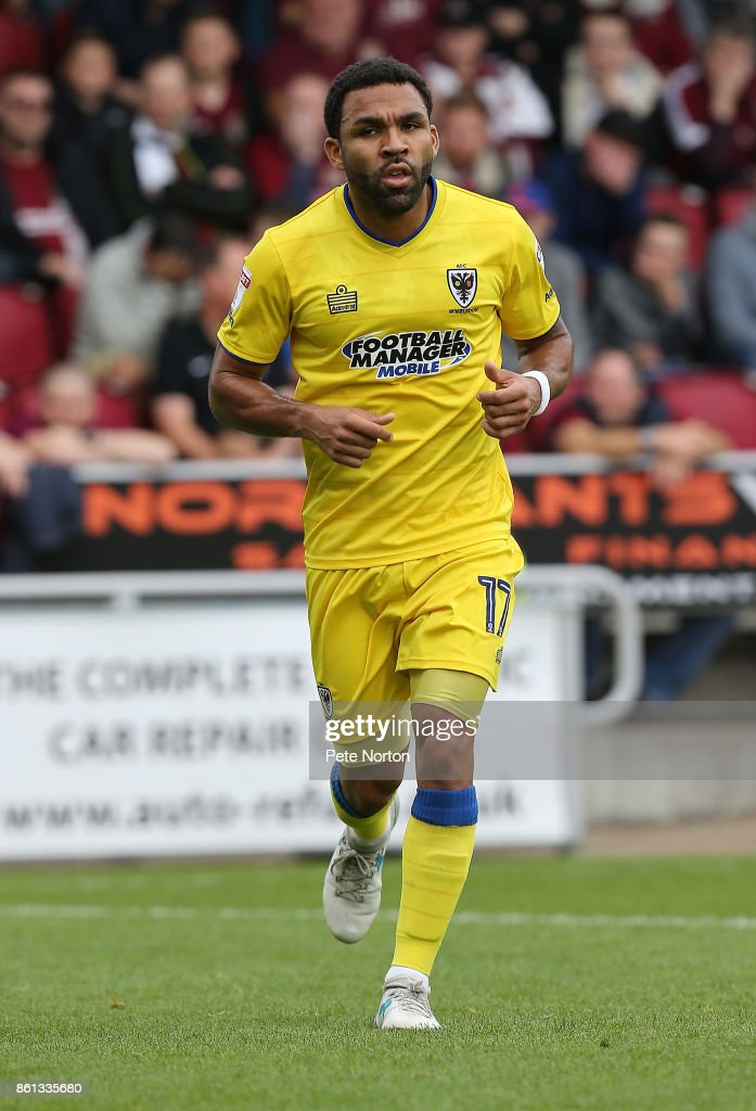 Andy Barcham of AFC Wimbledon in action during the Sky Bet League One match between Northampton Town and A.F.C. Wimbledon at Sixfields on October 14, 2017 in Northampton, England.