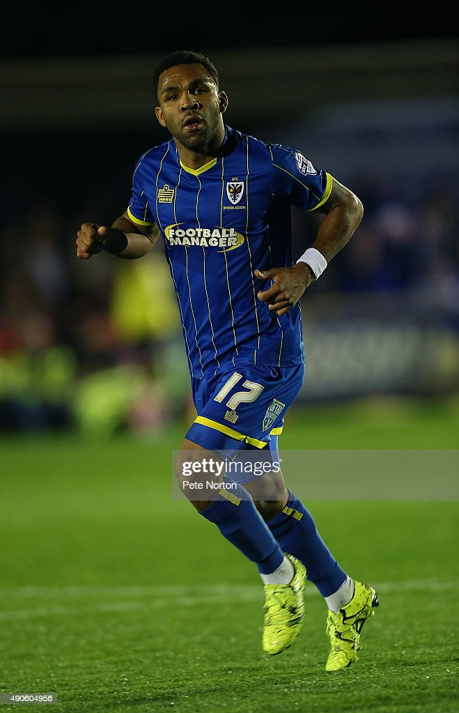 Andy Barcham of AFC Wimbledon in action during the Sky Bet League Two match between AFC Wimbledon and Northampton Town at The Cherry Red Records Stadium on September 29, 2015 in Kingston upon Thames, England.