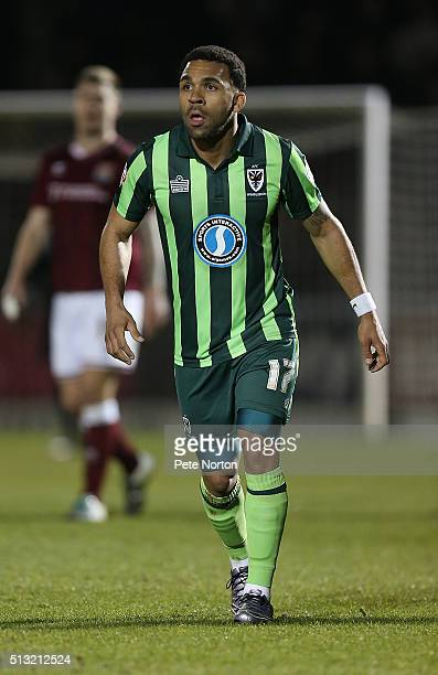 Andy Barcham of AFC Wimbledon in action during the Sky Bet League Two match between Northampton Town and AFC Wimbledon at Sixfields Stadium on March...