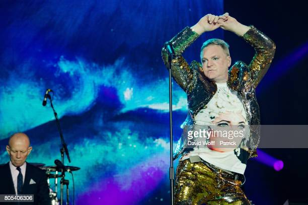 Andy Bell and Vince Clarke from Erasure open for Robbie Williams at AccorHotels Arena on July 1 2017 in Paris France