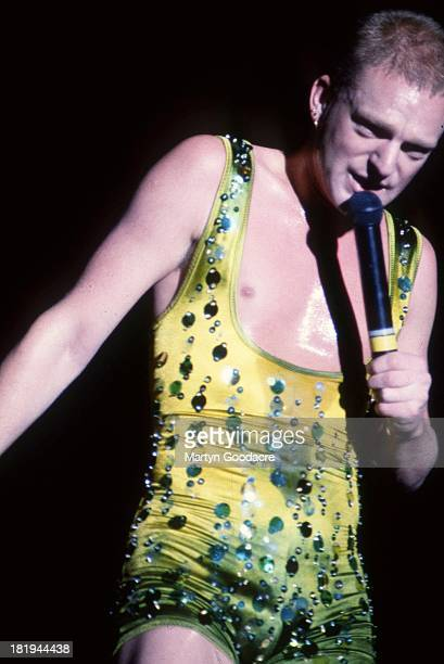 Andy Bell of English synthpop duo Erasure performs on stage at Milton Keynes Bowl 1990