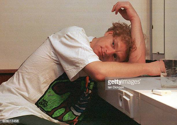 Andy Bell of Erasure in a dressing room backstage in Gdansk Poland 1991