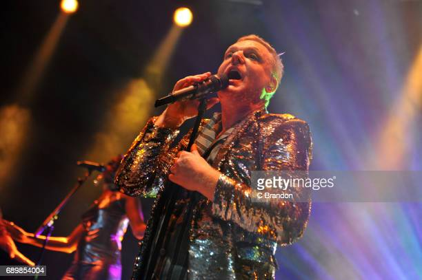 Andy Bell of Erasure performs on stage at the Roundhouse on May 29 2017 in London England