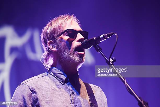 Andy Bell of Ride performs on stage at Brixton Academy on October 14 2015 in London United Kingdom