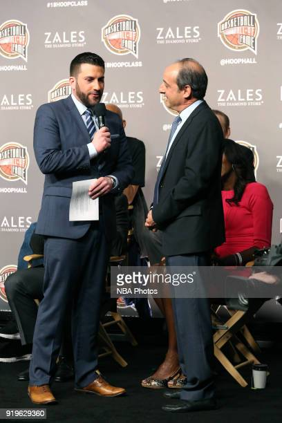 Andy Bernstein winner of the 2018 Curt Gowdy Media Award during the 2018 Naismith Memorial Basketball Hall of Fame announcement at STAPLES Center on...