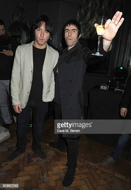 Andy Best and Liam Gallagher attend the launch of Liam Gallaghers clothing line Pretty Green at the Gore Hotel on November 7 2009 in London England