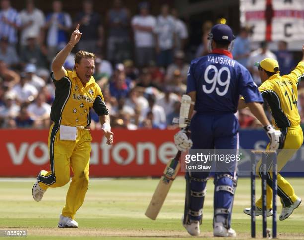 Andy Bichel of Australia celebrates the wicket of Michael Vaughan of England during the ICC Cricket World Cup 2003 Pool A match between Australia and...