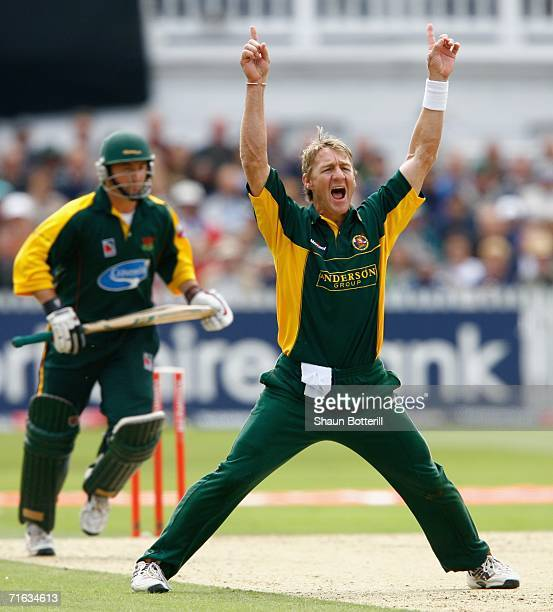 Andy Bichel of Essex celebrates after taking the wicket of Paul Nixon of Leicestershire during the Twenty20 Cup Semi Final match between Essex and...