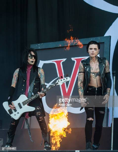 Andy Biersack and Ashley Purdy of Black Veil Brides perform at Download Festival at Donington Park on June 10 2018 in Castle Donington England