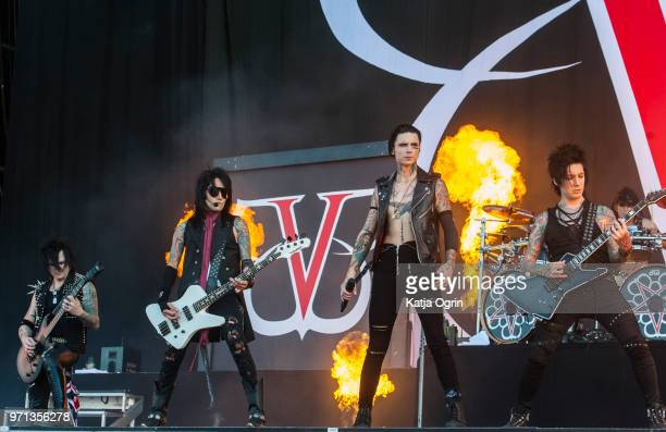Andy Biersack Ashley Purdy Jake Pitts Jinxx and Christian 'CC' Coma of Black Veil Brides perform at Download Festival at Donington Park on June 10...