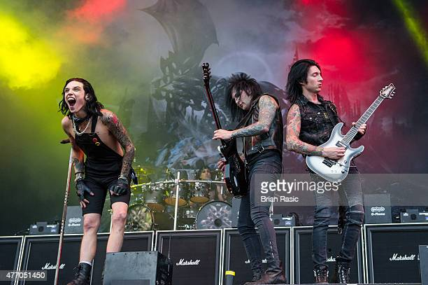 Andy Biersack Jake Pitts and Jeremy Miles 'Jinxx' Ferguson of Black Veil Brides perform live on Day 2 of the Download Festival at Donington Park on...