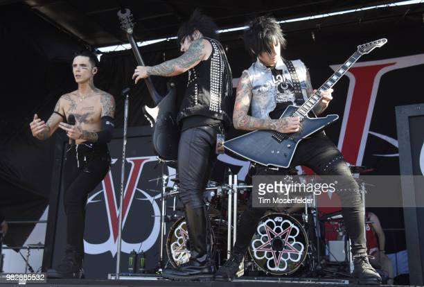 Andy Biersack Jake Pitts and Jinxx of Black Veil Brides performs during the 2018 Vans Warped Tour at Shoreline Amphitheatre on June 23 2018 in...