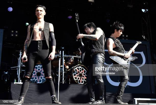 Andy Biersack Jinxx and Jake Pitts of Black Veil Brides perform during the Aftershock Festival 2018 at Discovery Park on October 14 2018 in...