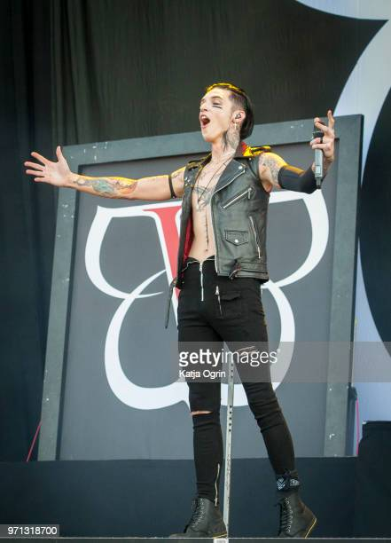 Andy Biersack of Black Veil Brides performs at Download Festival at Donington Park on June 10 2018 in Castle Donington England