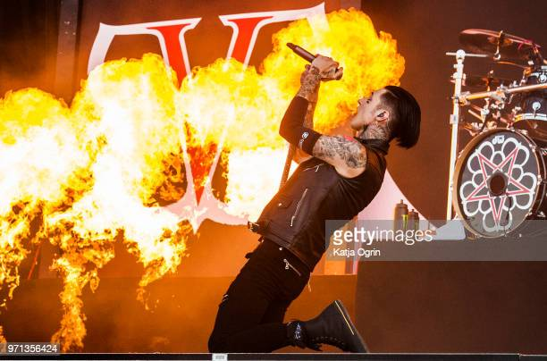 Andy Biersack of Black Veil Brides performs at Download Festival at Donington Park on June 10 2018 in Castle Donington England