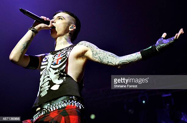 Andy Biersack of Black Veil Brides performs at O2 Apollo Manchester on October 12 2014 in Manchester England
