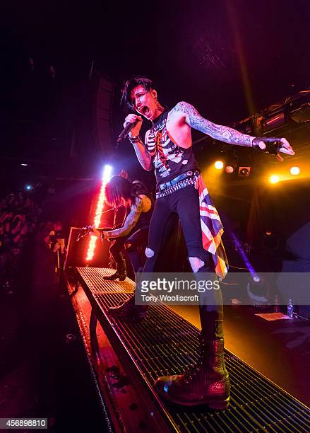 Andy Biersack of Black Veil Brides performs at Rock City on October 8 2014 in Nottingham England
