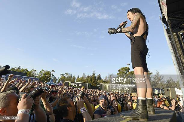 Andy Biersack of Black Veil Brides performs during the 2015 Vans Warped Tour at Shoreline Amphitheatre on June 20 2015 in Mountain View California