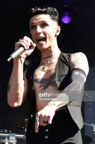 Andy Biersack of Black Veil Brides performs during the Aftershock Festival 2018 at Discovery Park on October 14 2018 in Sacramento California