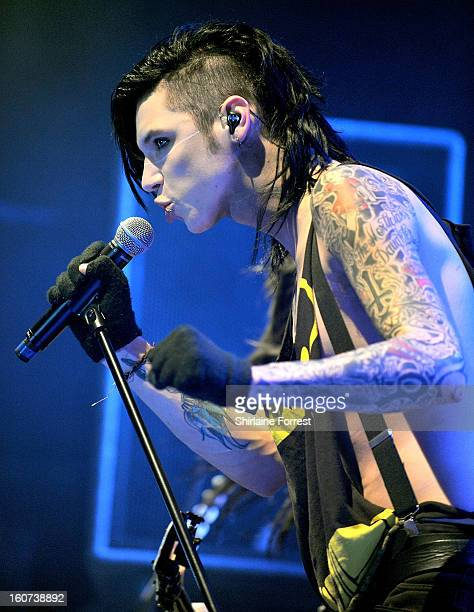 a1e2959f90 Andy Biersack of Black Veil Brides performs headlining the Kerrang tour at  Manchester Academy on February