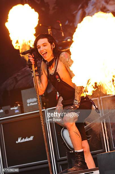 Andy Biersack of Black Veil Brides performs live on stage during Day 2 of the Download Festival at Donington Park on June 13 2015 in Castle Donington...